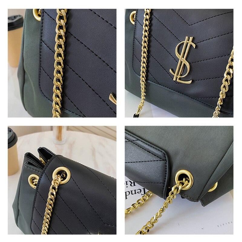 Vintage PU Leather Crossbody Bags for Women 2021 Winter Branded Classic Chain Shoulder Bag Handbags Luxury Designer Hand Bag