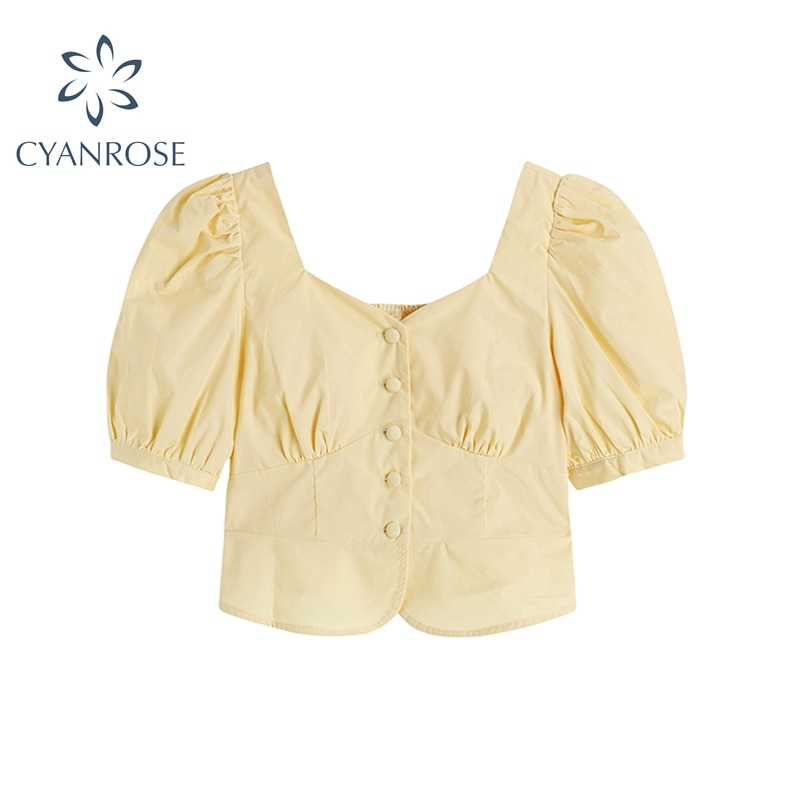 Yellow Whith Shirt Women 2021 New Summer French Style Retro Square Collar Bubble Sleeve Button Ladies High Street Short Blouse