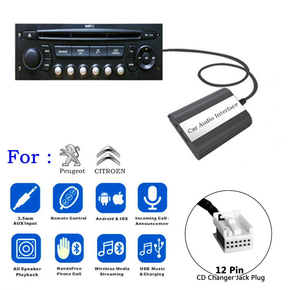 DOXINGYE USB AUX Bluetooth Car Radio Digital CD Changer Adapter Car MP3 Player Handsfree For RD4 Peu