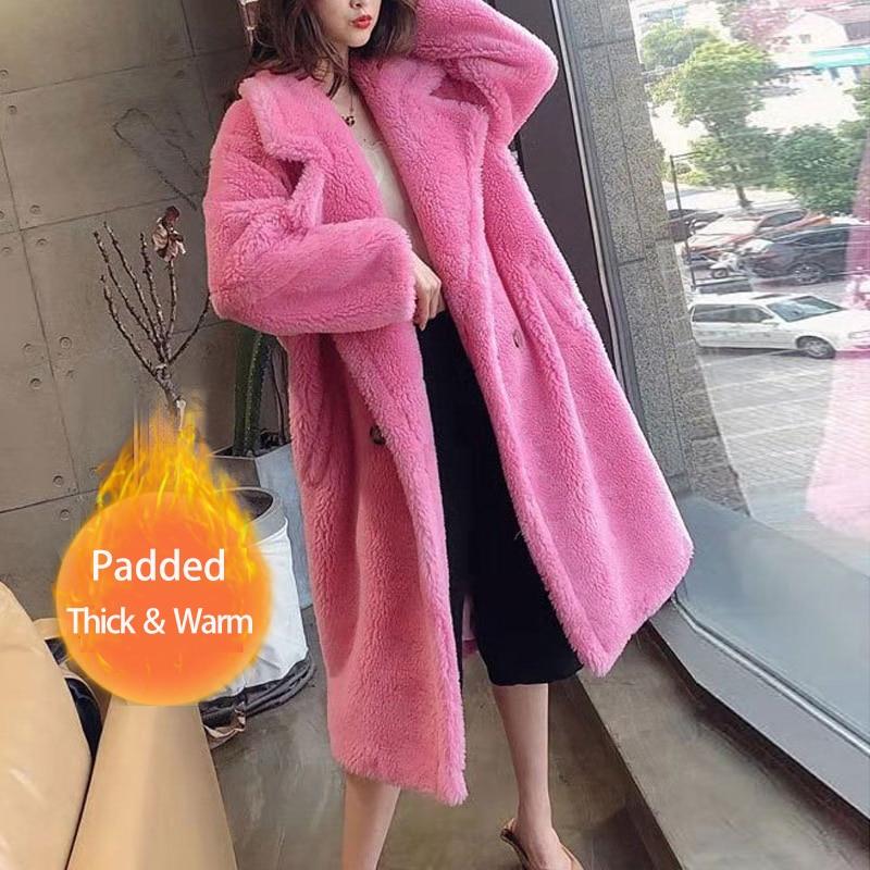 Abrigo largo de invierno para mujer, de piel sintética, cálido, de manga larga, abrigo de oso de peluche grueso, informal, suelto, de gran tamaño
