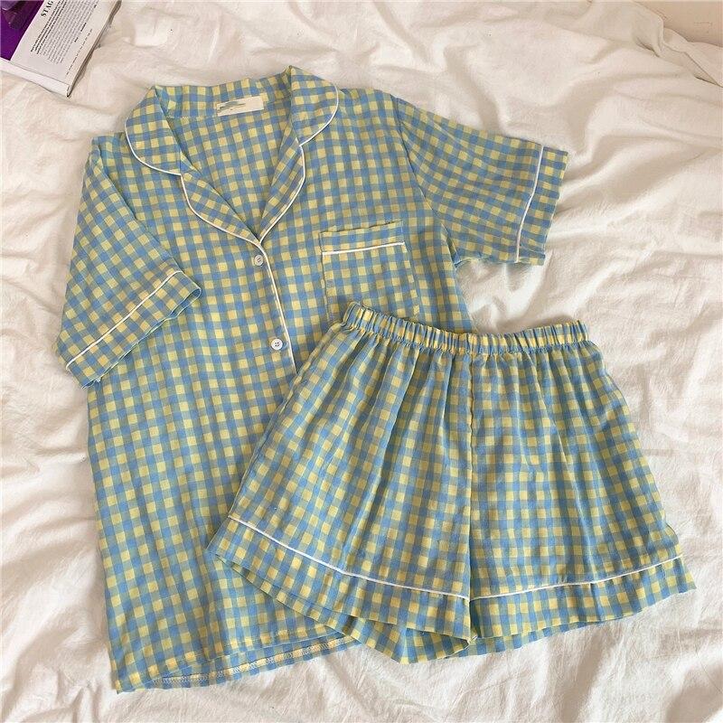 summer pajamas set women short sleeve plaid home suit turn down collar cotton sleepwear loose shorts pijamas casual purple недорого