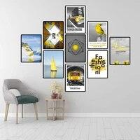 Decoration de la maison affiche imprime mur Art toile peinture nordique image Ins jaune montagnes mode dessin