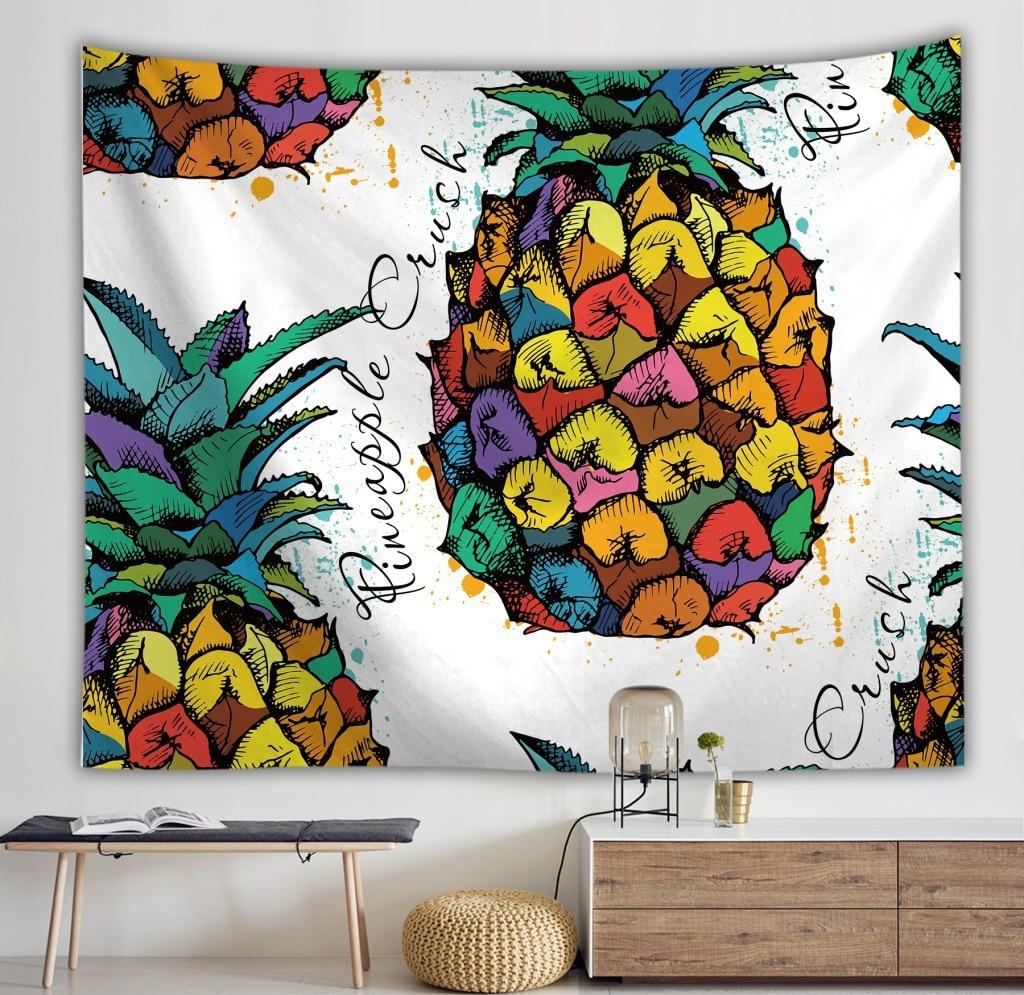 Yaapeet 1 шт. фруктовый принт подвесной гобелен полиэстер с рисунком ананаса настенный гобелен элегантный растительный принт настенный подвес...