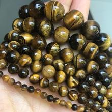 Pierre naturelle jaune oeil de tigre perles rondes perles entretoises en vrac pour la fabrication de bijoux Bracelet à bricoler soi-même collier 15