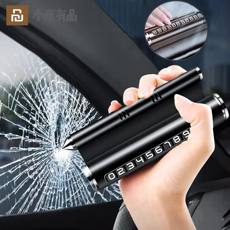 لوحة أرقام وقوف السيارات متعددة الوظائف ، حامل هاتف 4 في 1 للعلاج بالروائح ، مطرقة أمان السيارة ، سبيكة ، جديد