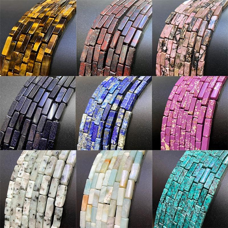 "15.5"" Multicolor Square Tube Natural Stone Tiger Eye lapis lazuli Labradorite Beads 4*13mm Jaspers Beads for DIY Jewelry Making"