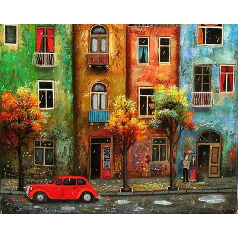 Cuadro DIY de paisaje urbano bajo la lluvia con números, pintura acrílica para adultos, cuadro pintado al óleo a mano para decoración del hogar