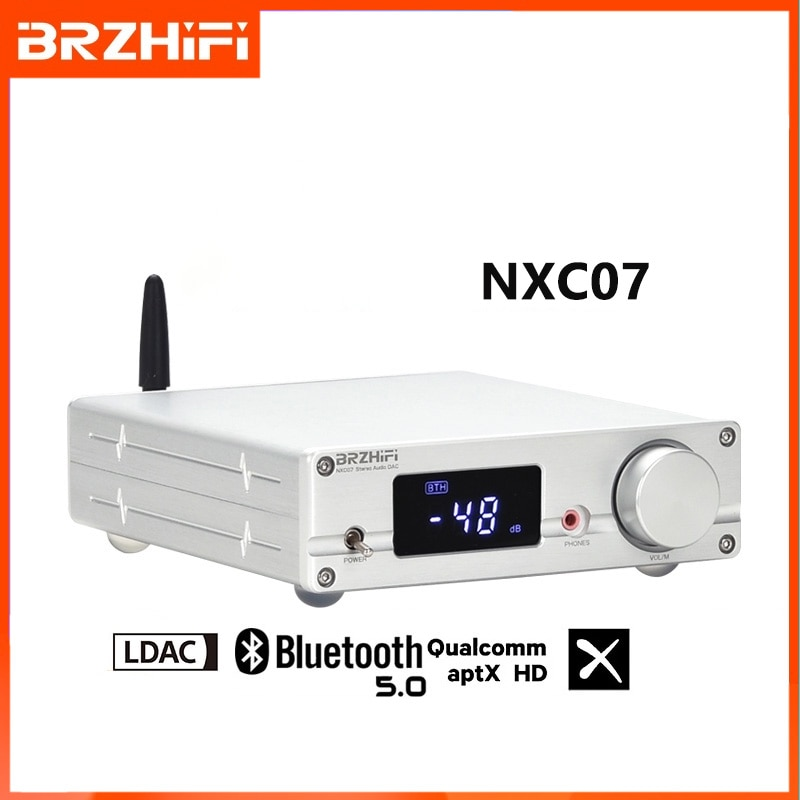BRZHIFI NXC07 مرحبا فاي محلل شفرة سمعي بلوتوث 5.0 DAC ES9038Q2M DSD512 PCM32Bit 384KHZ USB RCA اقناع فك مضخم ضوت سماعات الأذن