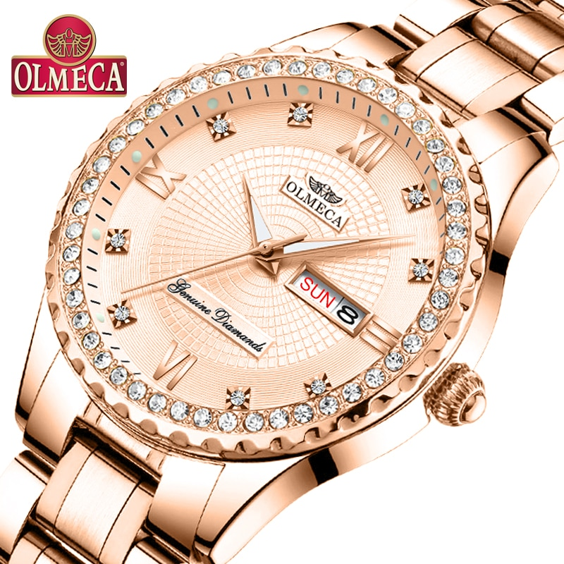 Olmeca relógio de pulso feminino moda data automática relógios de quartzo luxo relogio feminino relógios 30 m à prova dwaterproof água relógio luminoso mãos