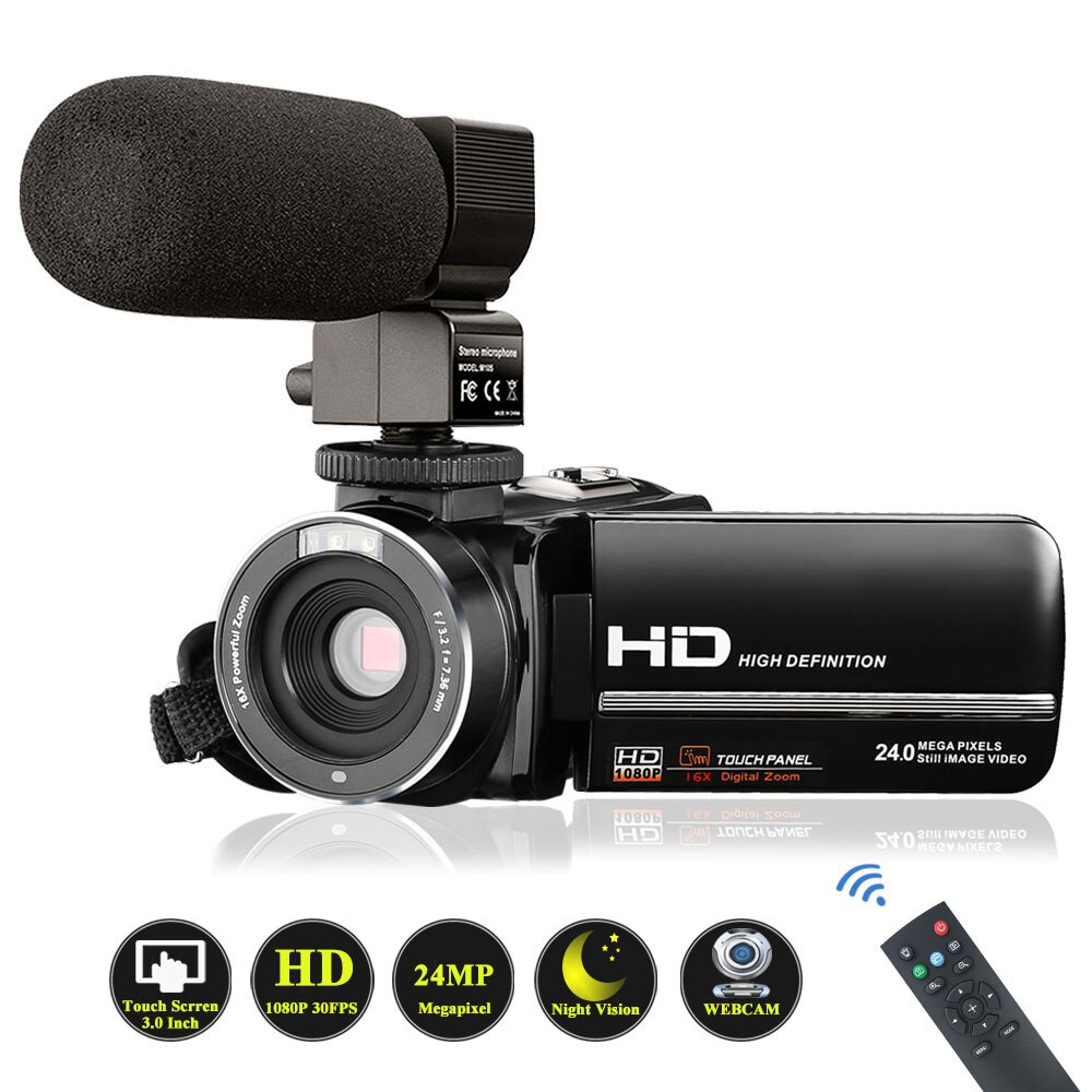 Video Camera Camcorder with Microphone VideoSky FHD 1080P 15FPS 24MP Vlogging YouTube Cameras 16X Di