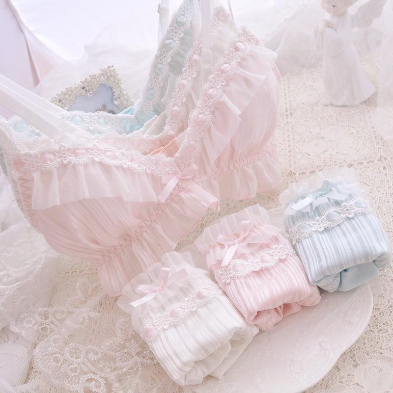 طقم ملابس داخلية للبنات ، ملابس نوم مريحة ، حمالة صدر وسراويل داخلية يابانية ، مع كشكش وقوس لوليتا ناعم ، 6 ألوان