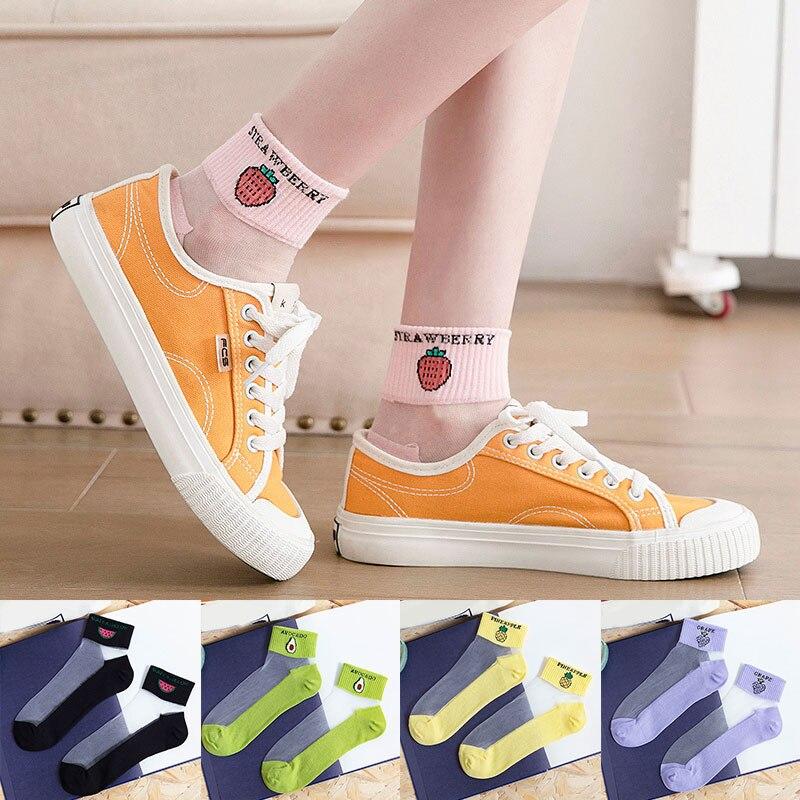 Summer Thin Cotton Bottom Crystal Silk Socks Fruits Embroidery Spring Short Socks Ankle Socks Japanese Cartoon Fruit Hosiery