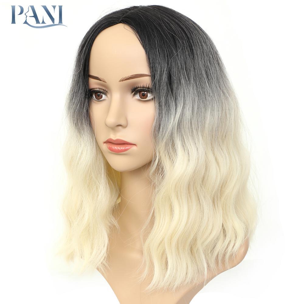 Pani curto ondulado natural perucas sintéticas para mulheres bob resistente ao calor fibra cosplay rosa puple 10 cores para escolher