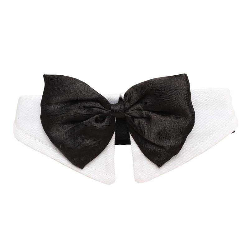 Único ajustable perro mascota pajarita Collar boda esmoquin vestido de fantasía traje corbata negro-blanco XL