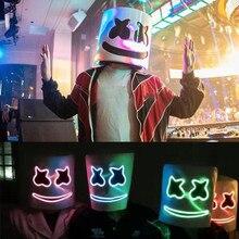 Halloween guimauve lumière DJ masque Led casque Cosplay accessoire lumière de fête DJ masque guimauve Costume EL masque musique veilleuse