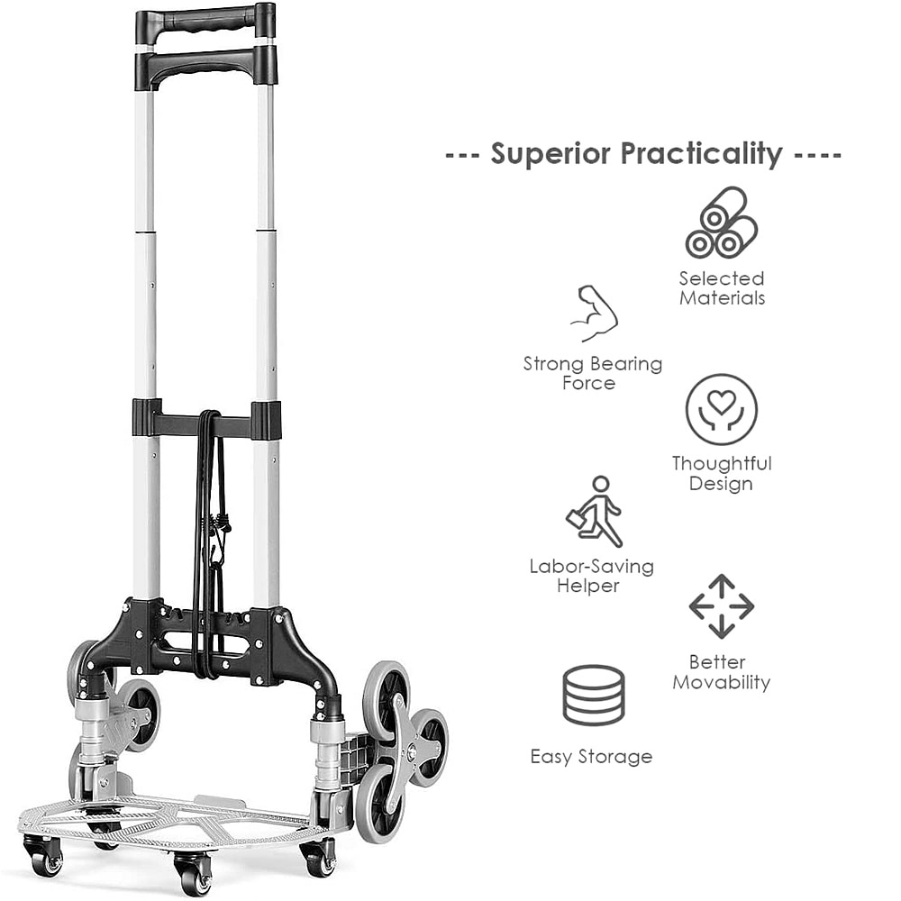 Shopping Cart Stair Climbing Cart Hand Truck with Bungee Cord Portable Folding Trolley Garden Cart to Carry Goods, Climb Stairs