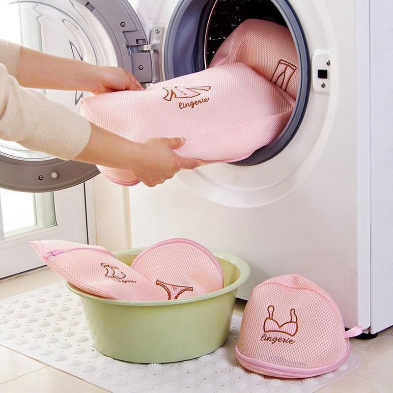 Poliéster zíper saco de lavanderia roupas saco de lavagem sutiã meias saco de roupa interior recipiente de lavanderia multisize máquina de armazenamento em casa