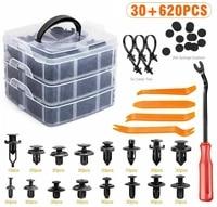 620pcs plastic 5mm 10mm car retainer clips fasteners push trim pin rivet screwdriver cable tie kit with 20pcs sponge cushion