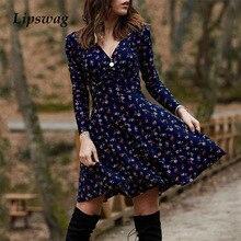 2021 Lente Herfst Lange Mouw Feestjurk Sexy V-hals Bloemenprint Mini Jurk Vrouwen Elegante Losse A-lijn Vintage Jurk vestidos