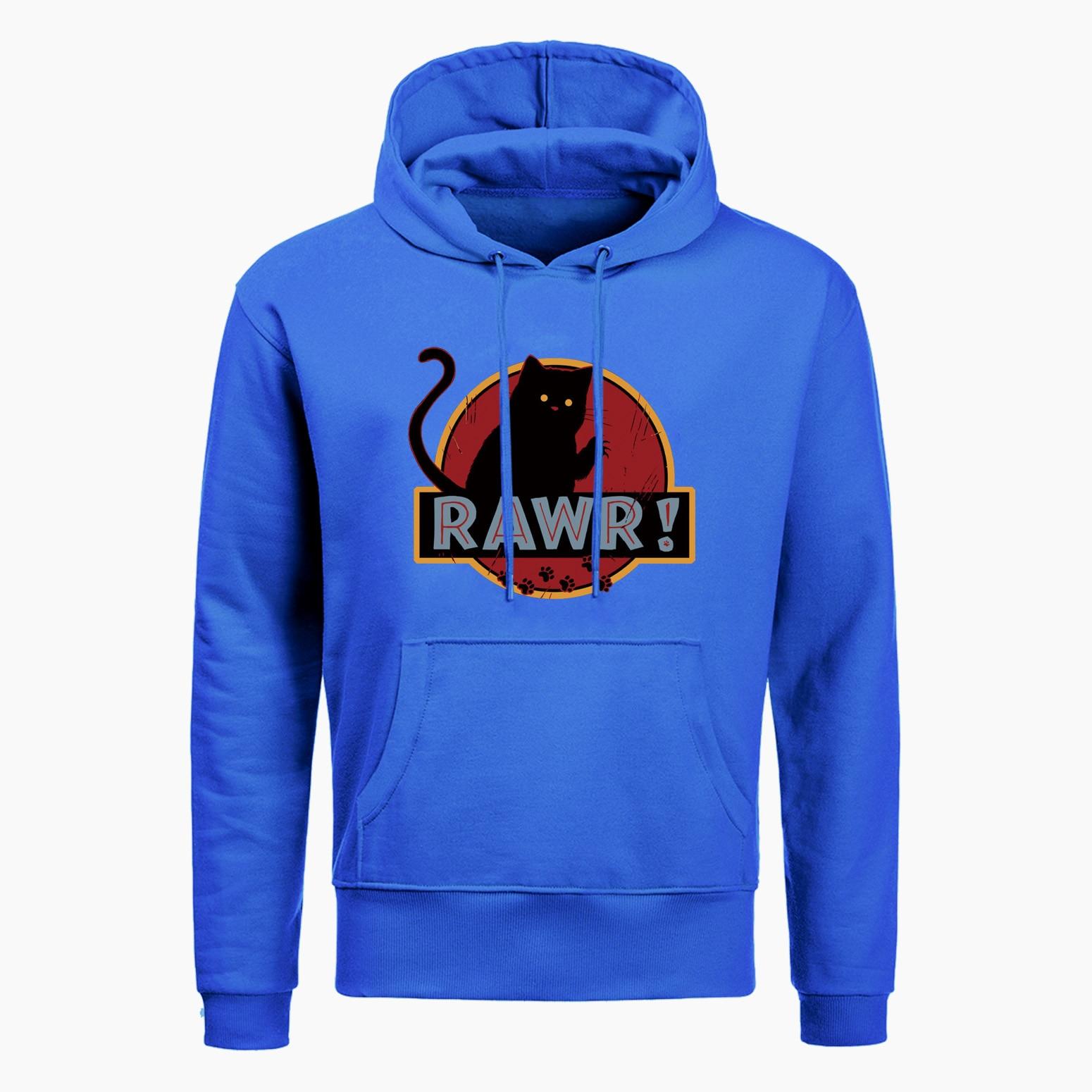 New Rawr Cat Cool Hoodies Sweatshirts Men Funny Cat Clothing 2019 Autumn Winter Fashion Casual Hip Hop Raglan Hoodie Streetwear
