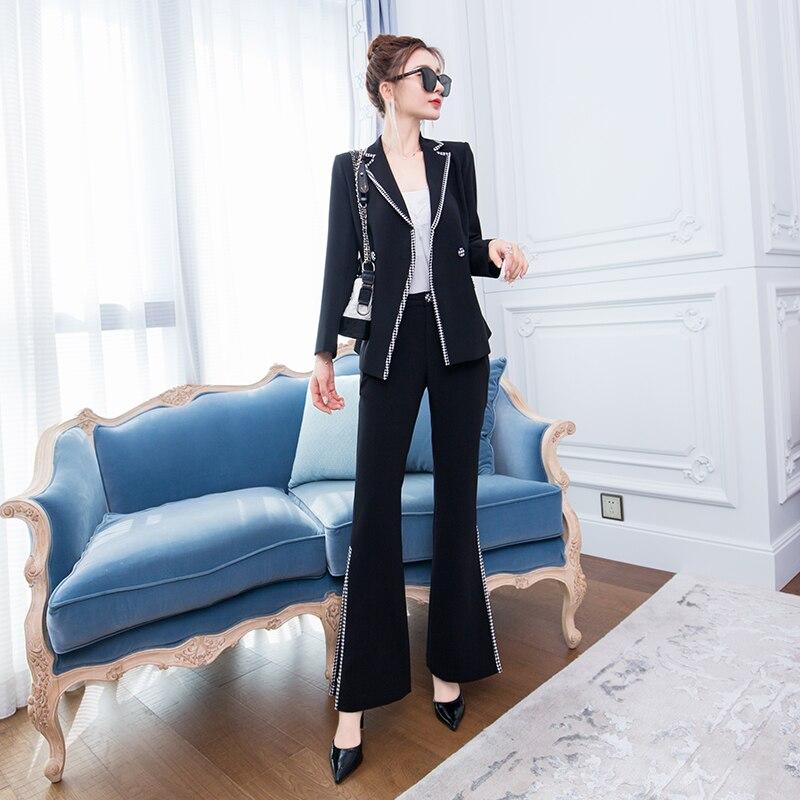 2 مجموعات من المرأة الخريف المهنية OL الأعمال دعوى السراويل سترة المرأة أزياء ربيع جديد مزاجه بدلة