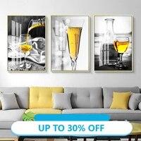 Toile de decoration de noel  affiches de peinture en verre de vin noir et blanc  tableau dart mural pour decoration de salon  decoration de maison