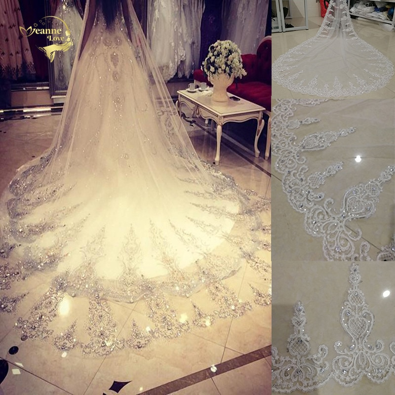 Wedding Veils 3 Meters Long Sparkle Sequins Crystals High Quality One Layer Tulle Full Lace Edge Cathedral Length Bridal Veils