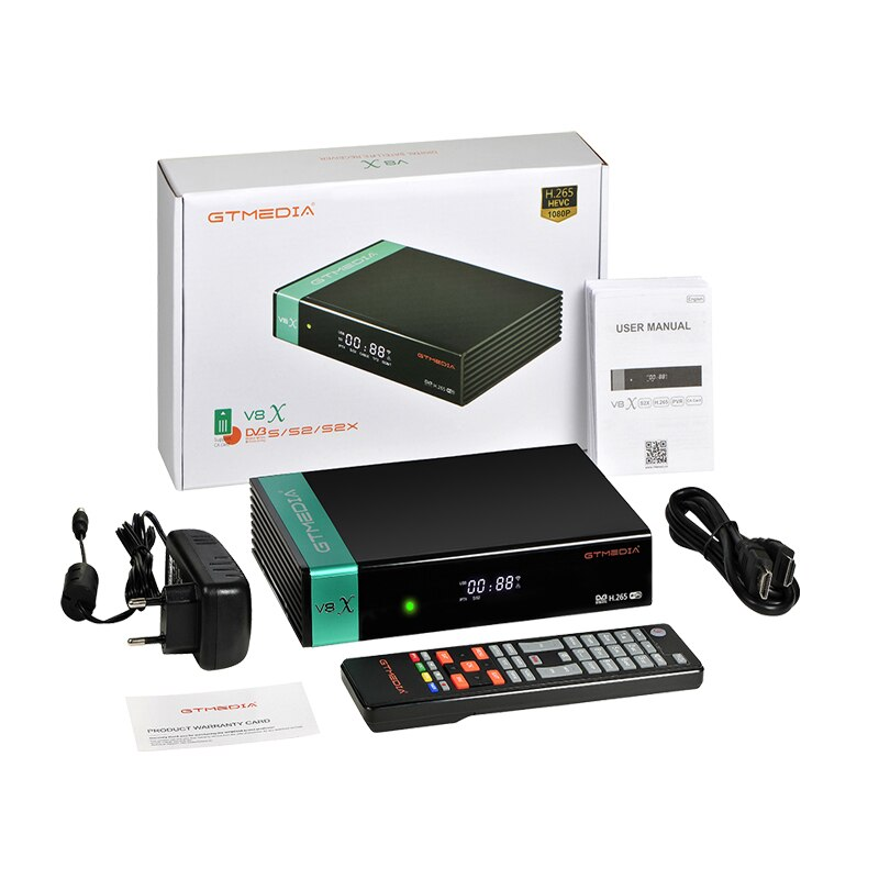 Gtmedia-receptor satélite V8X, DVB-S2, wi-fi integrado, compatible con H.265, DVB-S/S2/S2X, VCM/ACM/ AVS + mejor V8 NOVA V9 Super, 5 uds.
