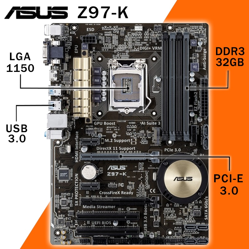 Lga 1150 asus Z97-Kマザーボード,PCコンポーネント,Intel i7/i5/i3 ddr3 1150プロセッサ (oc),mhz m.2 ssd vga dvi,z97プロセッサ,バージョン3000 moune 1150 atx