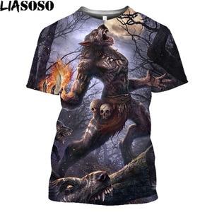 Movie Werewolf 3D Printed Men And Women T-shirt Vintage Wolf Oversized T Shirt Tops Halloweentown Dark Gothic Harajuku Shirt