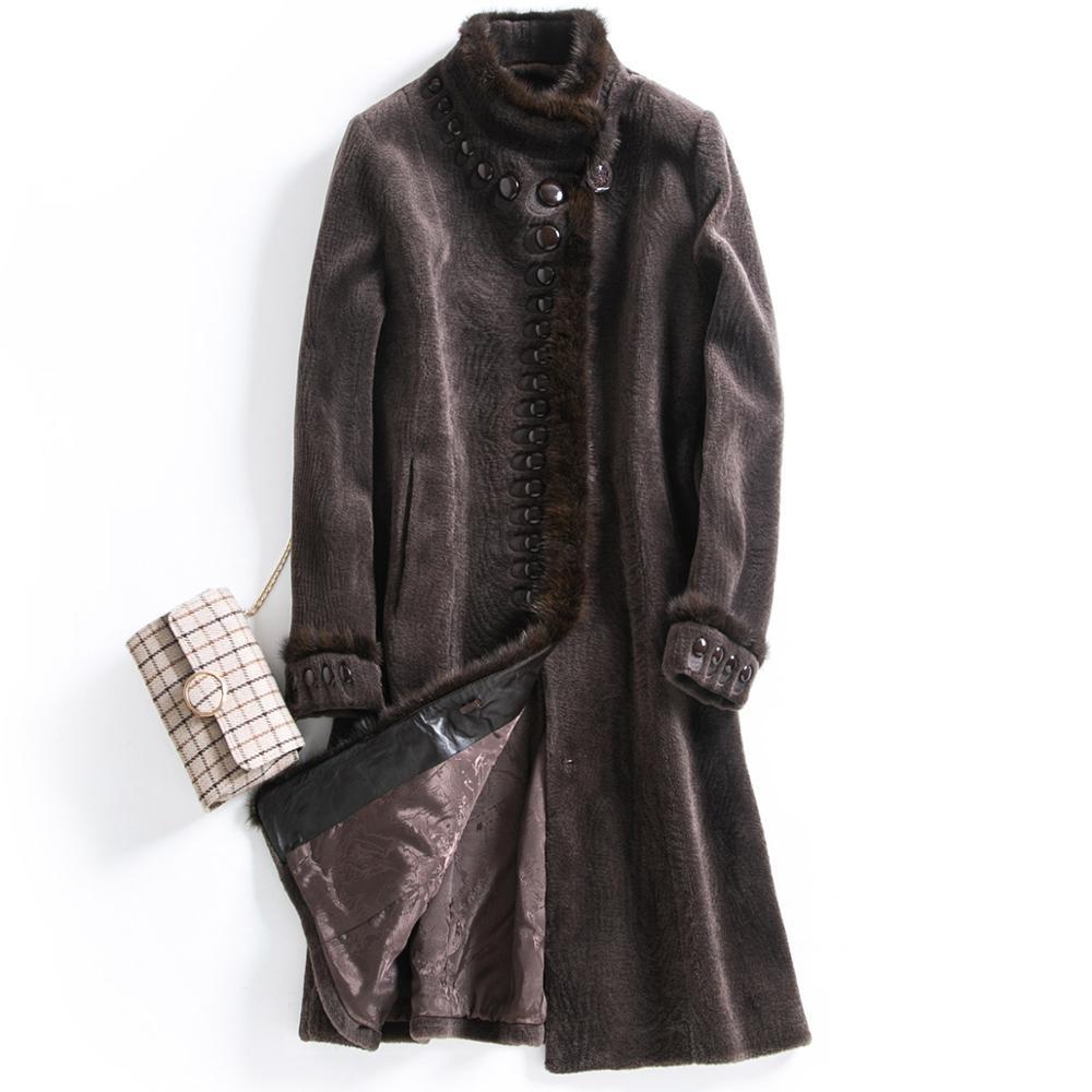 winter coat women sheep fur wool overcoat  fashion mink fur collar long real fur coats sheep shearing fur jacket Russian popular