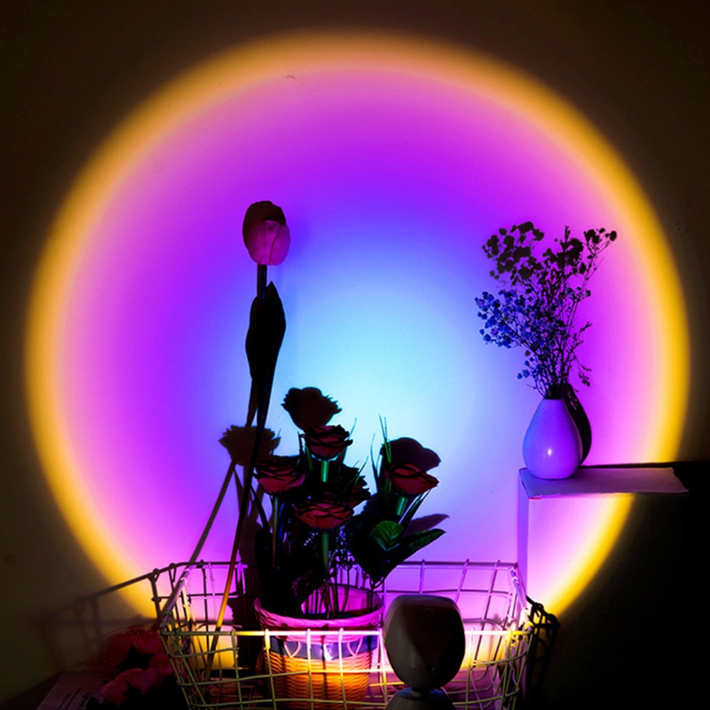 2021 Rainbow Sunset Projector Atmosphere Led Night Light Home Coffe shop Background Wall Decoration Colorful Lamp