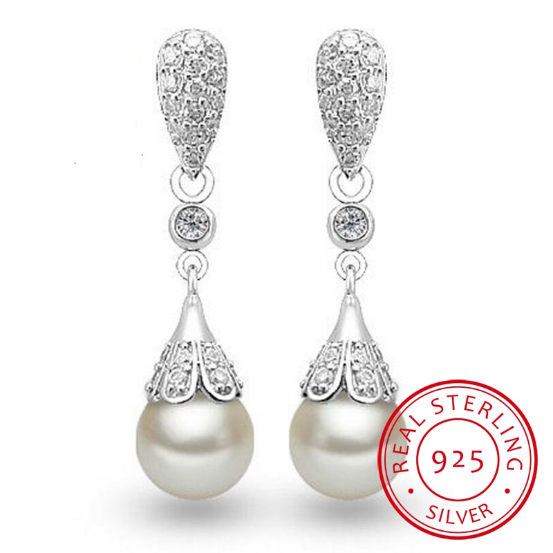 925 sterling silver Pearl Jewelry natural freshwater pearl drop earrings for women Silver Wedding Dangle Earring v ya 925 stertling silver agates water drop earrings natural stone dangle earrings women wedding party jewelry gift