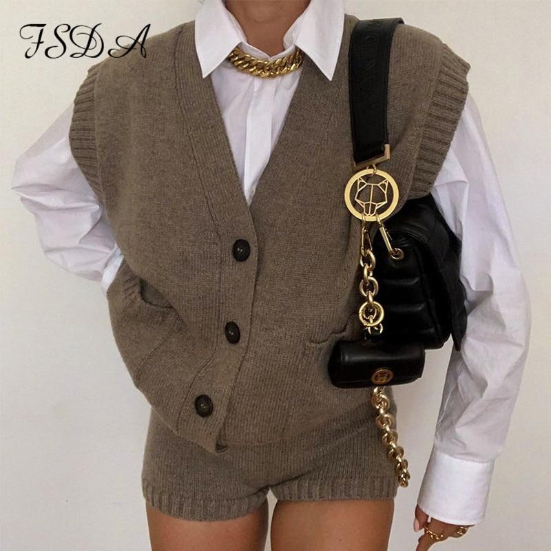 FSDA V Neck Sleeveless Vest Sweater Button Pocket Loose Jumper Knitted Casual Autumn Winter 2020 Women Oversized Cardigan Top
