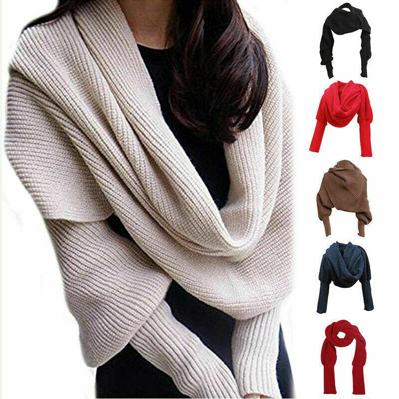 Bufanda tejida de mujer Casual con mangas invierno cálido chal femenino Color...