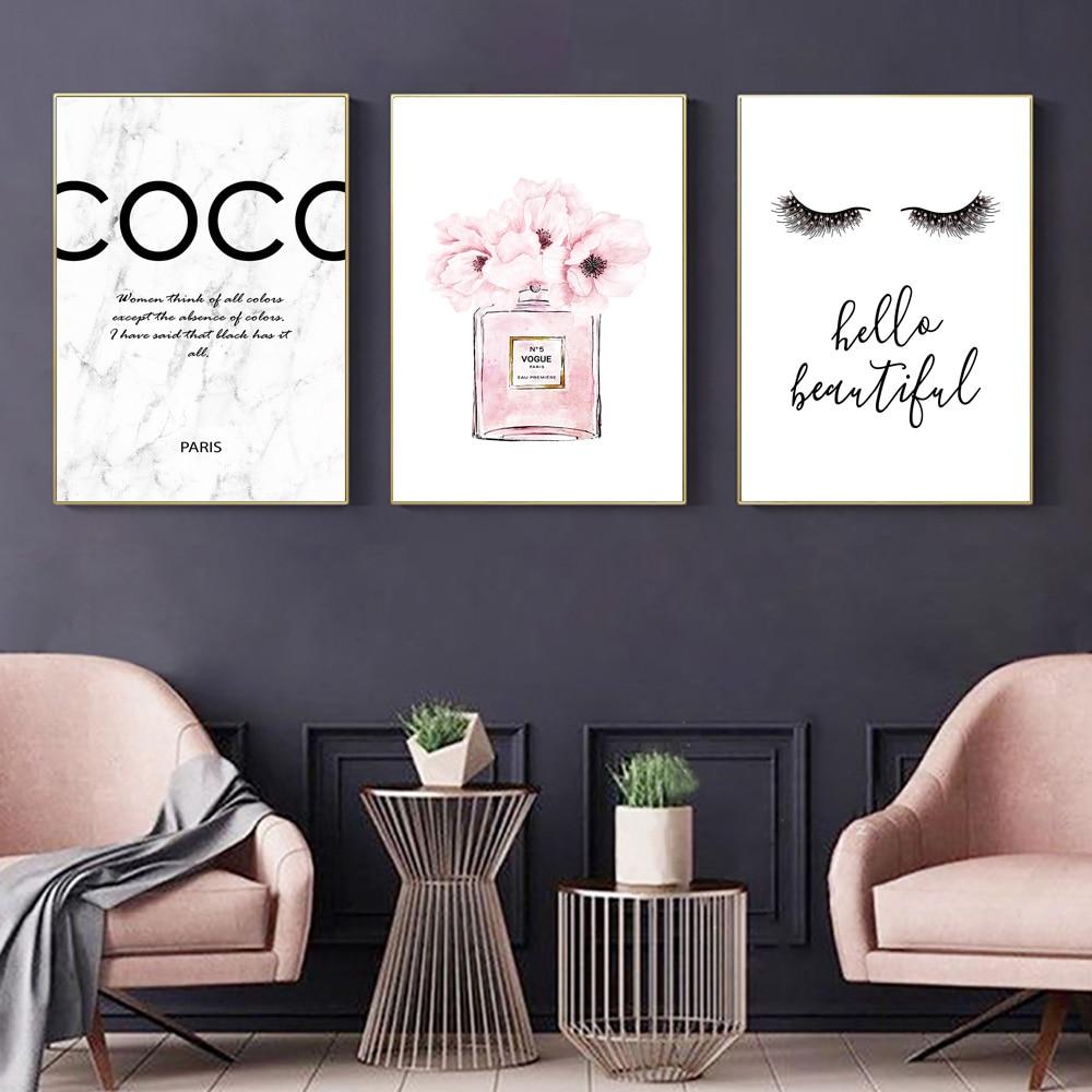 Póster de moda con botella de Perfume, impresiones para pared, pestañas, lienzo, pintura artística, pintura de peonía rosa, imágenes artísticas de pared de flores, decoración para habitación de chica