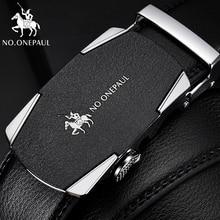 NO.ONEPAUL men belts cowhide Luxury brand jeans waist belt Business retro alloy Quality metal automatic buckle Leather belt men