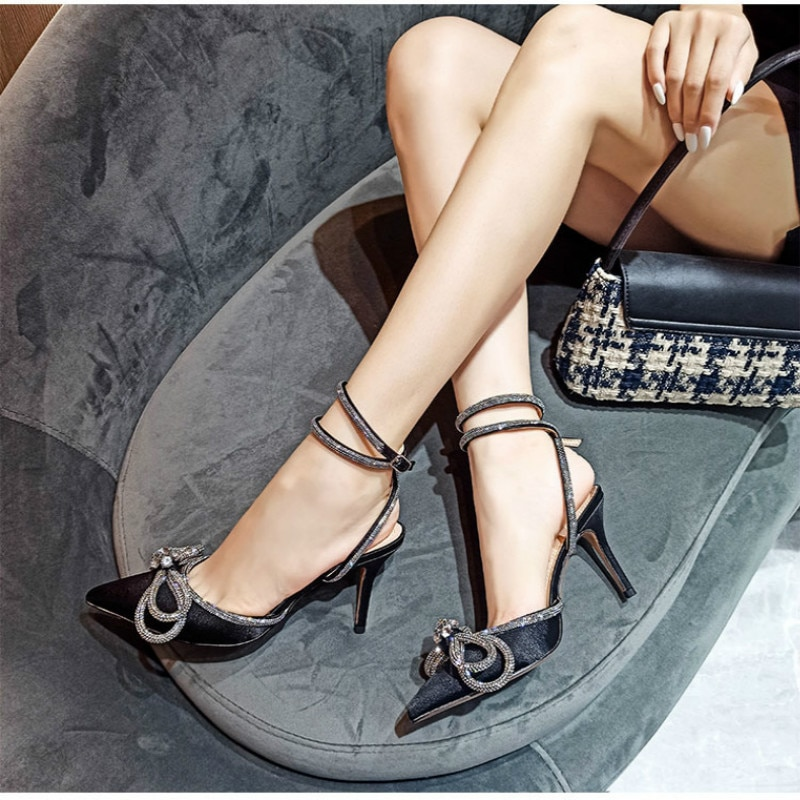 Женские туфли с острым носком Прозрачные кристаллические чашки туфли на высоком каблуке, туфли на шпильке, сексуальные босоножки-лодочки л...