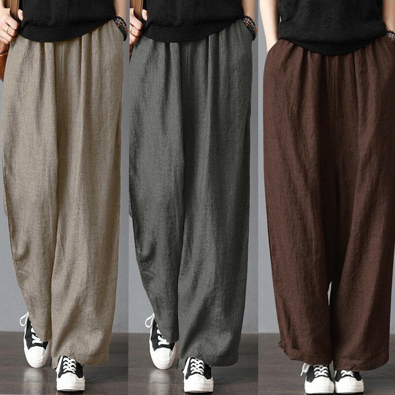 Pantalones de pierna ancha de algodón y lino para hombre, pantalones bombachos elásticos rectos informales holgados de verano para Fitness, pantalones Harem Ropa de talla grande S-3XL