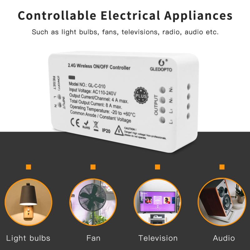 Zigbee-controlador de encendido/apagado inalámbrico, 1/4 Uds. plus para luz/ventilador/TV zll gateway APP RF 2,4G, control remoto, interruptor inteligente AC110-240V 4A