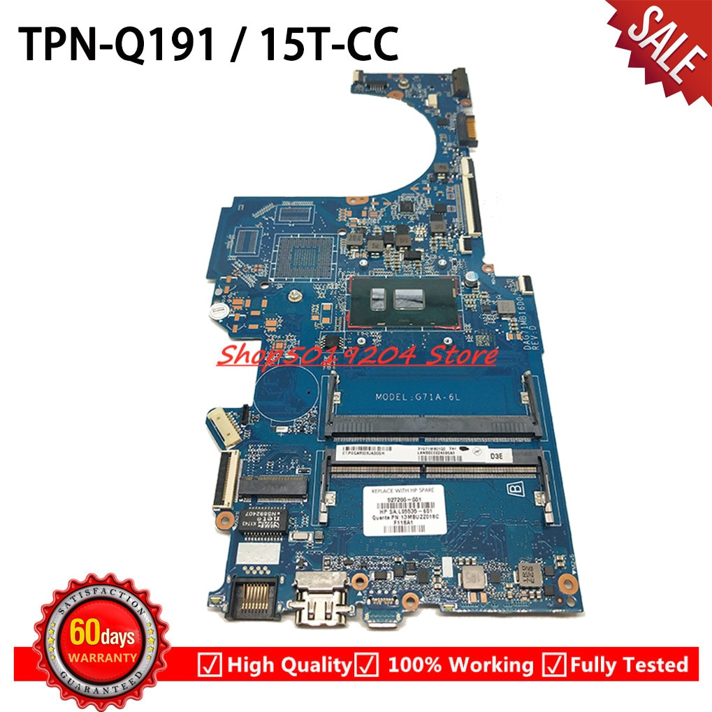 927266-601, 927266-001 927266-501 placa madre para HP pabellón 14-BK 14-BP 15-CC 15T-CC placa base de computadora portátil DAG71MB16D0 con i3-7100U