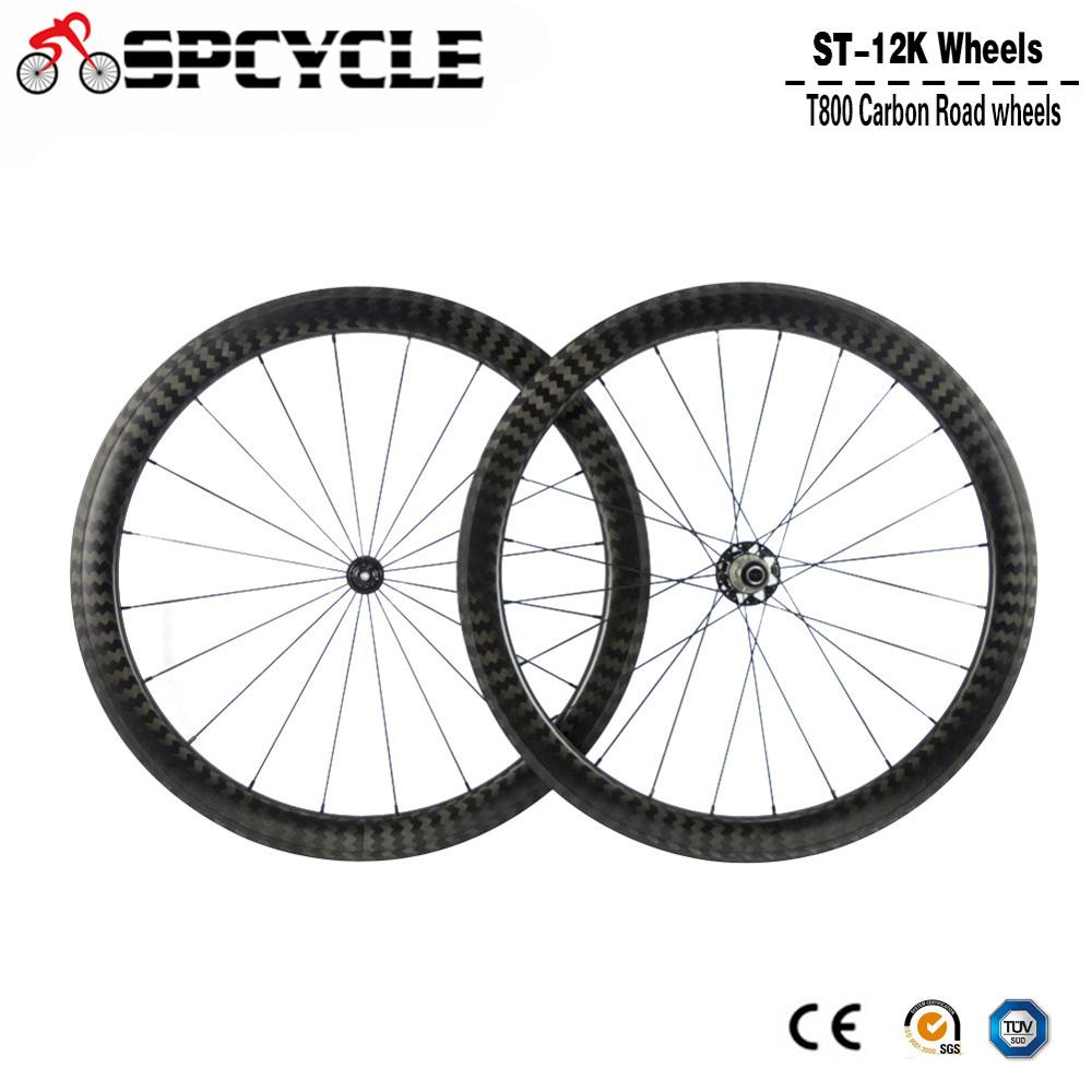 Spcycle 700C llena de carbono ruedas de bicicleta carretera 12k mate bicicleta de carretera juego de ruedas de carbono 25mm de ancho en forma de U de sets ruedas de bicicleta