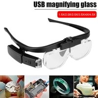 eye loupe led lighting usb rechargeable 6 lens magnifying glass 1 5x 2 5x 3 5x 5 0x magnifier glasses for jewelers watchmaker