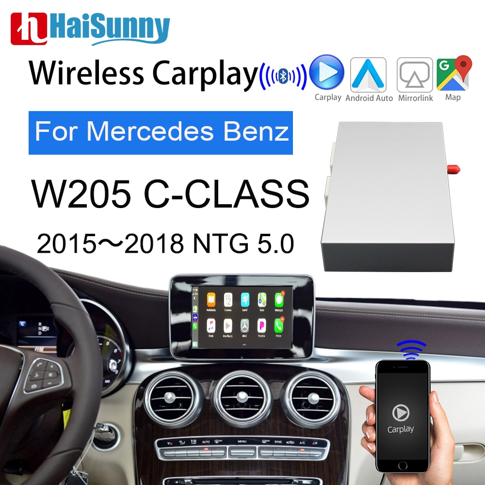 Review Wireless Carplay For Mercedes W205 NTG 5 System C class Support Android Auto Mirror Navigation Upgrade Original Screen Display