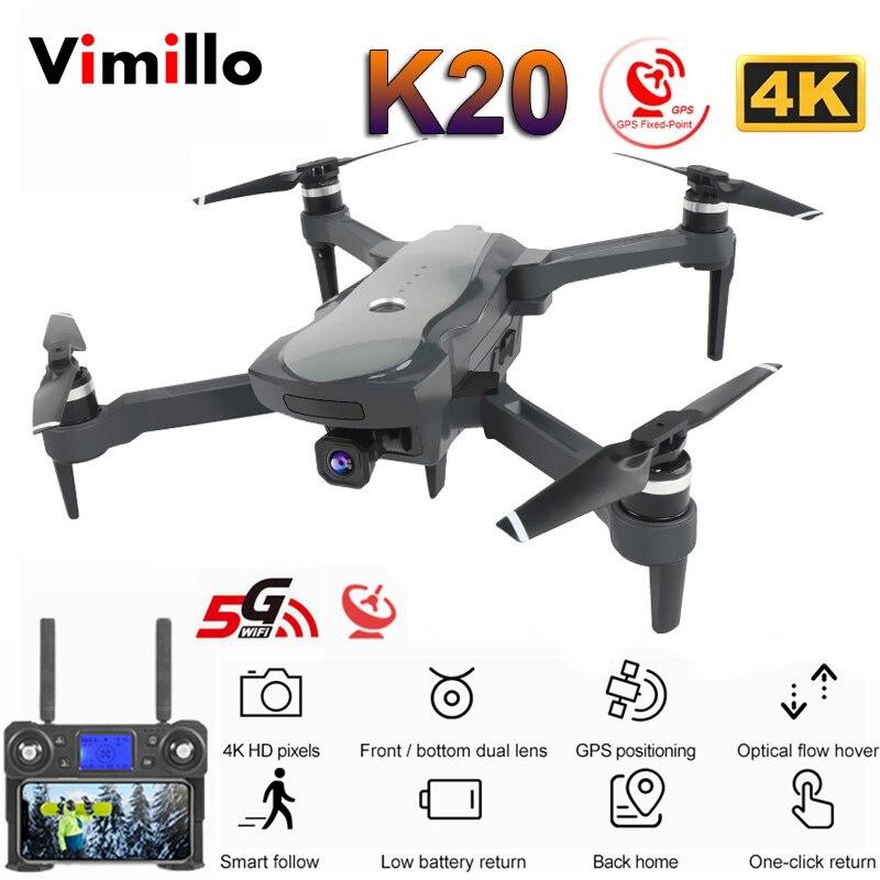 Zangão de vimillo k20 com 4k câmera dupla gps um-chave retorno modo headless siga-me círculo voar rc quadcopter drones brinquedos