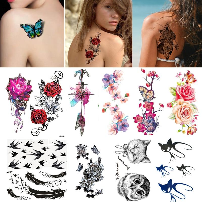 Tatuaje adhesivo temporal para mujer y Chica, diseño de rosa, flor, brazo, arte corporal, tatuaje de transferencia a prueba de agua, 2/3/4/5/Uds.