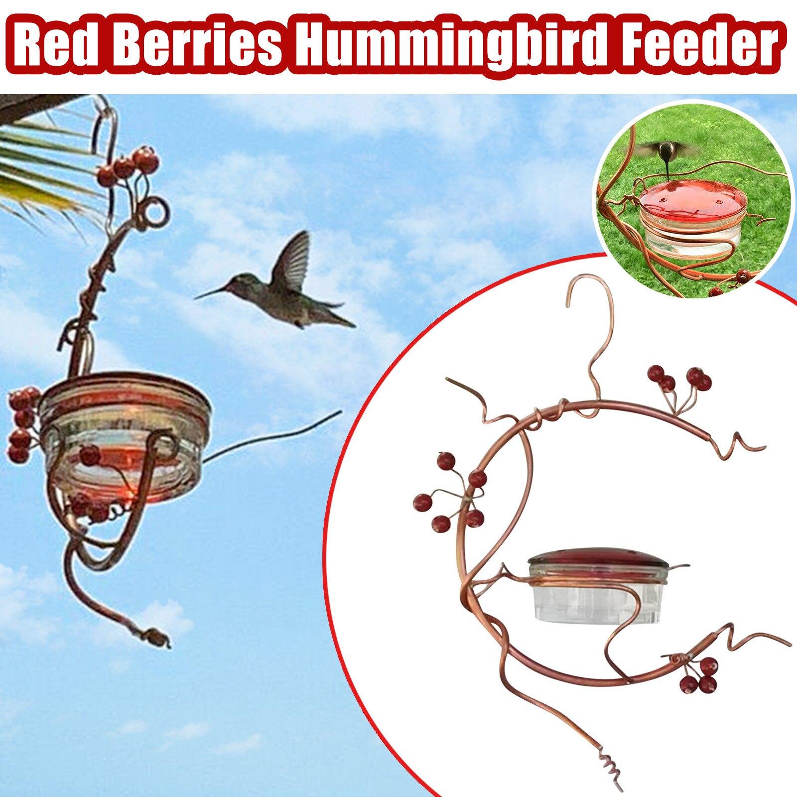 Alimentador de pájaro para patio, comedero de colibrí de bayas rojas, jaula...