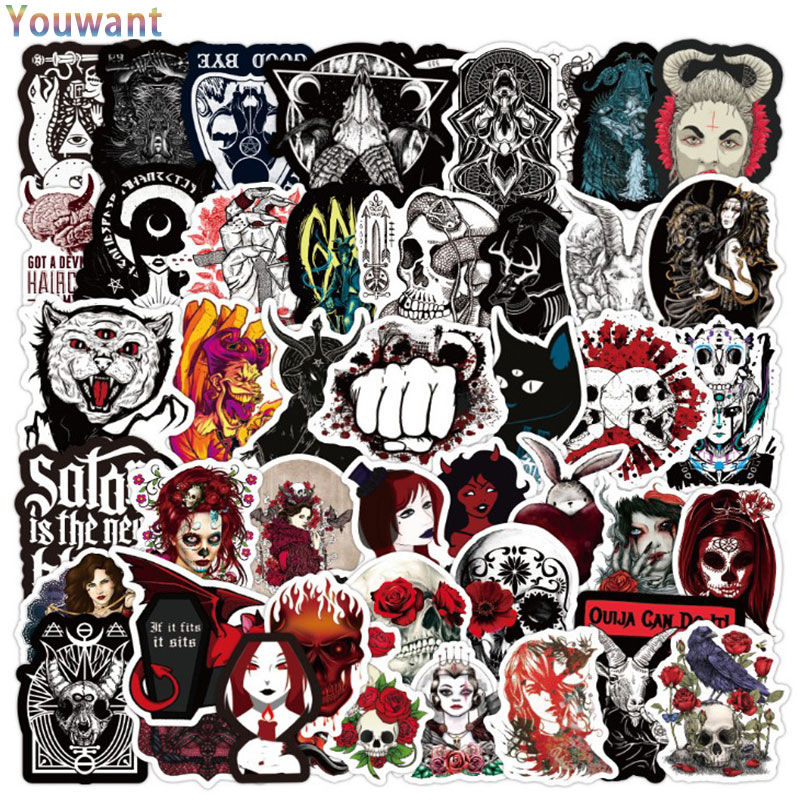 50pcs pack Christmas Wall Stickers Black and White Punk Style Gothic Halloween Waterproof Trolley Case Skateboard Sticker