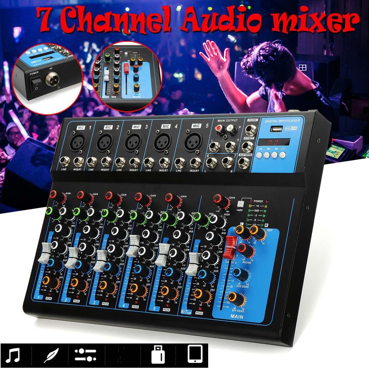 7 قنوات الصوت جهاز دمج صوتي خلط DJ وحدة التحكم USB مع 48 فولت فانتوم مراقبة الطاقة لإدخال