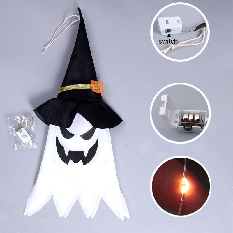 Украшения для Хэллоуина, светодиодные светящиеся головные уборы ведьмы, светящиеся лампочки, светящиеся строки на батарейках для украшени...